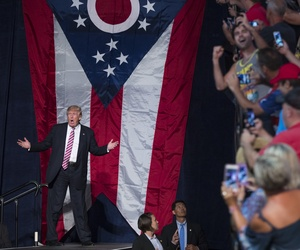 Republican presidential candidate Donald Trump arrives for a campaign rally, Wednesday, July 27, 2016, in Toledo, Ohio.