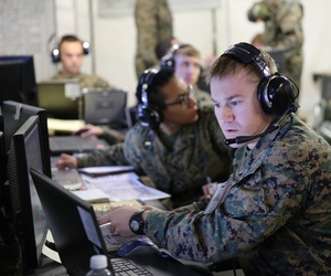 First Lt. Aaron Smith uses a computer during a Marine Air Command and Control System Integrated Exercise at Marine Corps Air Station Cherry Point, N.C., on Feb. 3, 2015.