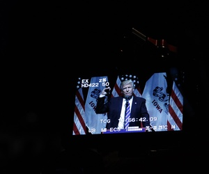 Republican presidential candidate Donald Trump is shown on a monitor as he speaks during a campaign rally Thursday, July 28, 2016, in Davenport, Iowa.