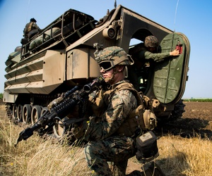 Over 220 U.S. Marines and Ukrainian forces, riding in 15 Amphibious vehicles, participated in an amphibious landing operation in Odessa, Ukraine, July 27.