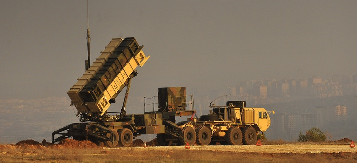 A Patriot missile battery sits on an overlook at a Turkish army base in Gaziantep, Turkey, Feb. 4, 2013.