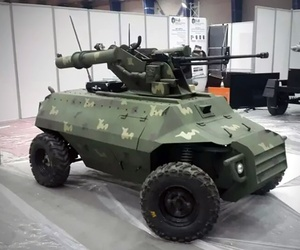 The armed robotic system on display at a security and defense exhibition in Baghdad in early 2016.