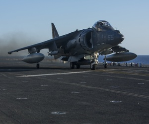 An AV-8B Harrier II with 22nd Marine Expeditionary Unit (MEU), launches from the flight deck of the amphibious assault ship USS Wasp (LHD 1) Aug. 1, 2016.