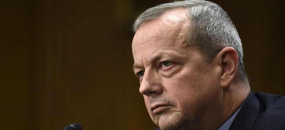 Gen. John Allen, retried, testified in the Senate Foreign Relations Committee as envoy for the counter-ISIS coalition, Feb. 25, 2015.