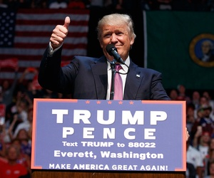 Donald Trump speaks during a campaign rally in Everett, Washington on Tuesday.