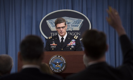 Gen. Joseph Votel, commander of U.S. Central Command, briefs reporters at the Pentagon briefing room, Apr. 26, 2016.