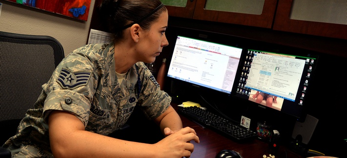 A U.S. Air Force noncommissioned officer works at her desk at Goodfellow Air Force Base, Texas, June 17, 2016.