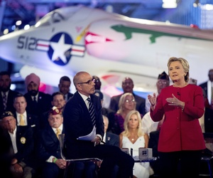 Hillary Clinton, with 'Today' show co-anchor Matt Lauer, speaks at the NBC Commander-In-Chief Forum in New York,, Sept. 7, 2016.