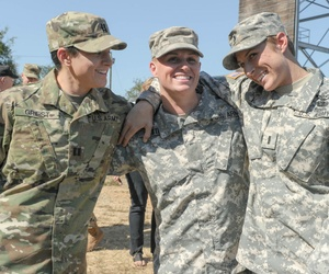 U.S. Army Capt. Kristen Griest (left), Maj. Lisa Jaster (center) and 1st Lt. Shaye Haver, following Jaster's graduation from Ranger School at Fort Benning, Ga., in 2015.