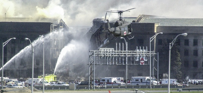 Helicopters land to evacuate casualties from the Pentagon on Sept. 11, 2001. 1 / 3 HIDE CAPTION – Helicopters land to evacuate casualties from the Pentagon on Sept. 11, 2001.