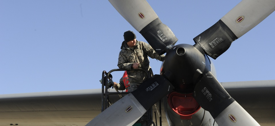 Staff Sgt. Scott Grgurich, a C-130 Hercules aircraft maintainer with the 43rd Aircraft Maintenance Squadron, troubleshoots an engine problem .