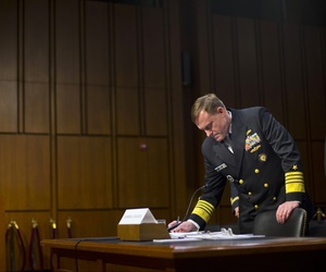 Director of the National Security Agency (NSA) Adm. Michael Rogers takes notes on Capitol Hill, Thursday, Sept. 24, 2015.