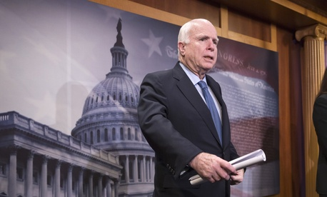 Senate Armed Services Committee Chairman Sen. John McCain, R-Ariz., speaks from Capitol Hill in Washington, Feb. 24, 2016.