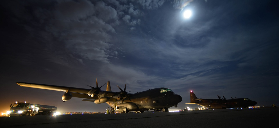 Two HC-130J Combat King IIs deployed to Diyarbakir Air Base, Turkey, to support personnel recovery operations in Syria and Iraq in 2015.