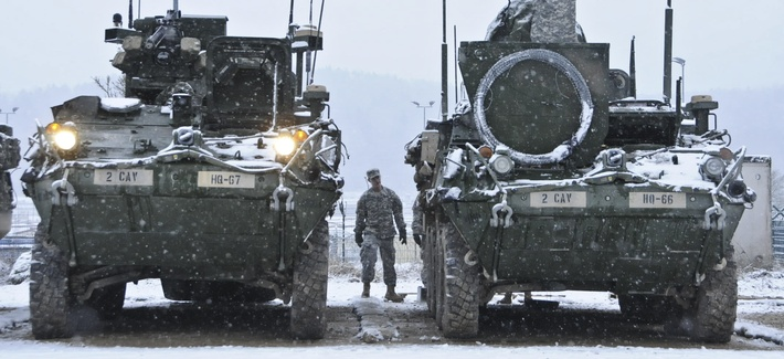 Soldiers at the exercise Allied Spirit I at Hohenfels Training Area located in Hohenfels, Germany, Jan. 20, 2015.