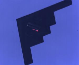 A B-2 stealth bomber drops an inert B61 nuclear bomb.