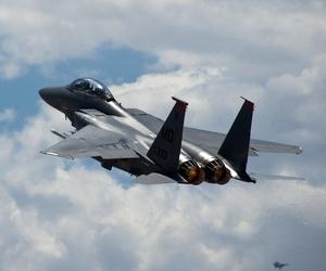 An F-15E Strike Eagle takes off.