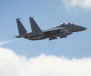 An F-15E Strike Eagle takes off from Los Llanos Air Base, Spain.