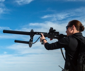 The DroneDefender from Battelle can interupt a drone's control link at 400 meters.