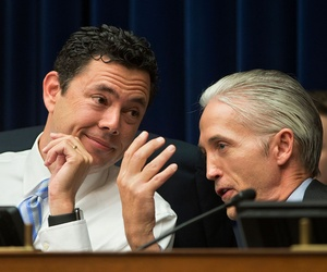 House Oversight and Government Reform Committee Chairman Rep. Jason Chaffetz, R-Utah, left, confers with House Select Benghazi Committee Chairman Rep. Trey Gowdy, R-S.C., on Capitol Hill in July.