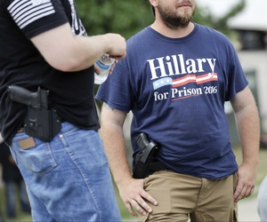 Donald Trump supporters came armed to a rally at Settlers Landing Park on Monday, July 18, 2016, in Cleveland, Ohio.
