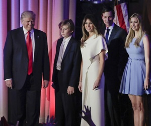 President-elect Donald Trump arrives with his family to give his acceptance speech at an election night rally Nov. 9.