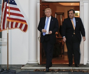 President-elect Donald Trump, left, and New Jersey Gov. Chris Christie walk from Trump National Golf Club Bedminster clubhouse, Sunday, Nov. 20, 2016, in Bedminster, N.J., after meeting.