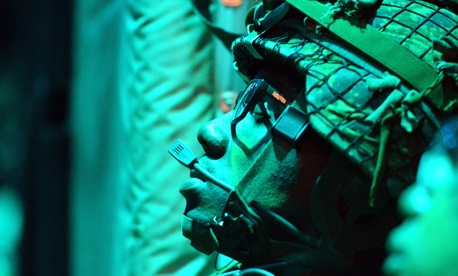 A Soldier with 3rd Battalion Princess Patricia's Canadian Light Infantry rests aboard a C-130 aircraft on its way to Canadian Forces Base Cold Lake, where 3rd Battalion Soldiers will board American helicopters.