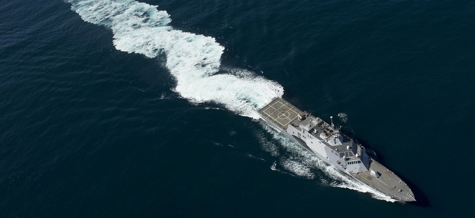 The USS Freedom, the lead ship of the Freedom variant of LCS, is shown off the coast of California.