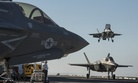 Three F-35Bs on board the USS America for testing.