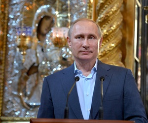 Russian President Vladimir Putin visits the Russian monastery St. Panteleimon at Karyes, on Mount Athos, Greece, Saturday, May 28, 2016.