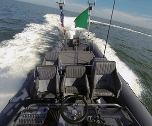 An autonomous Navy vessel performing a demonstration on the Chesapeake Bay in September.