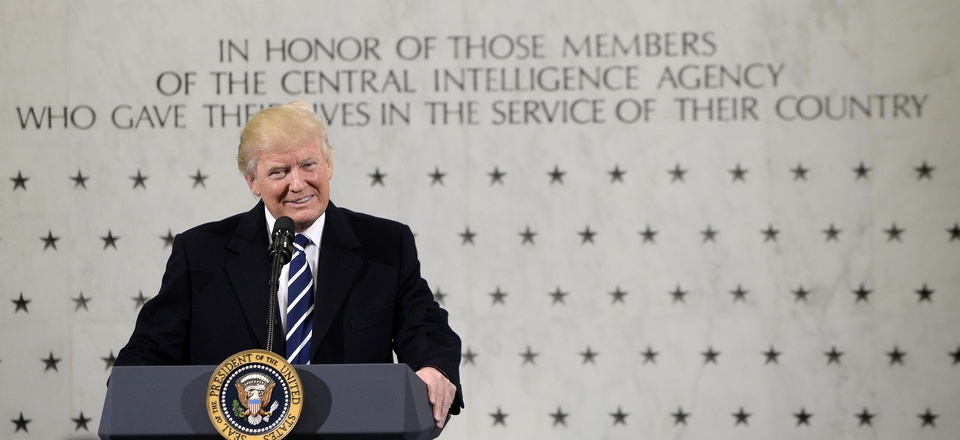 United States President Donald Trump speaks to 300 people at the Central Intelligence Agency (CIA) headquarters January 21, 2017 in Langley, Virginia.