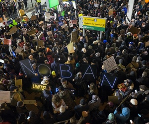 Protesters at John F. Kennedy International Airport in New York on Jan. 28 after refugees were detained while trying to enter the country.