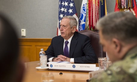Secretary of Defense James Mattis meets with the Joint Chiefs of Staff at the Pentagon, Jan. 23, 2017.