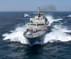 The USS Detroit (LCS 7), one of the United States Navy's newest warships, during trials near Marinette, Wisc., July 14, 2016.