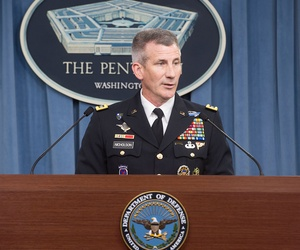 Gen. John Nicholson briefs reporters at the Pentagon in 2016.