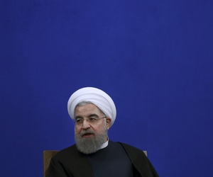 Iranian President Hassan Rouhani speaks in a press conference at the presidency compound in Tehran, Iran, Tuesday, Jan. 17, 2017. I