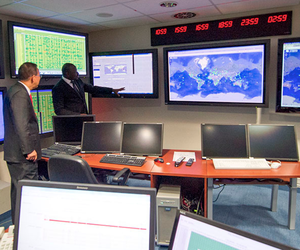 In recognition of the International Day Against Nuclear Tests, then-Secretary General of the United Nations Ban Ki-moon visits the Comprehensive Nuclear Test Ban Treaty Organization's operations center.
