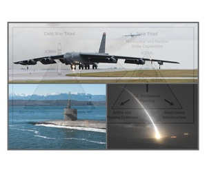 The U.S. nuclear triad: clockwise from top, B-52 Stratofortress strategic bombers (Sept '16), a Minuteman III land-based intercontinental ballistic missile test launch (Sept '16), and the Ohio-class ballistic-missile sub USS Henry M. Jackson (Feb '17).
