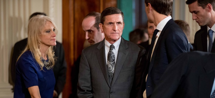 National Security Adviser Michael Flynn, center, arrives in the East Room of the White House in Washington, Monday, Feb. 13, 2017.