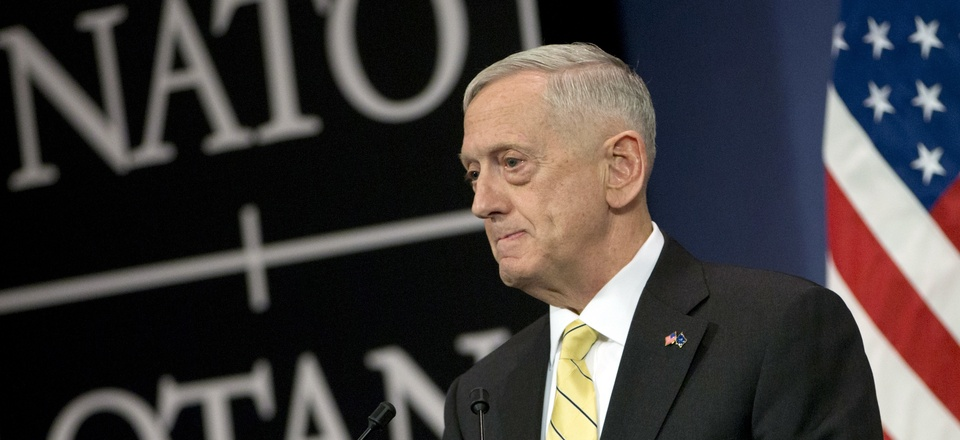Secretary of Defense Jim Mattis speaks during a media conference at NATO headquarters in Brussels on Thursday, Feb. 16, 2017.