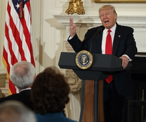 President Donald Trump speaks to a meeting of the National Governors Association, Monday, Feb. 27, 2017, at the White House in Washington.