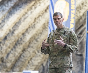 Gen. Joseph Votel, U. S. Central Command commander, speaks at a commander's call at an undisclosed location in Southwest Asia, Feb. 23, 2017.