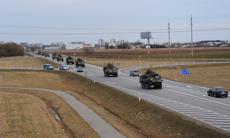 "A U.S. Army road march, known as ""Dragoon Ride,"" as part of Operation Atlantic Resolve, in March 2015."