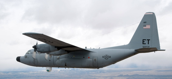 A specially modified 46th Test Wing NC-130H aircraft equipped with the Advanced Tactical Laser weapon system.