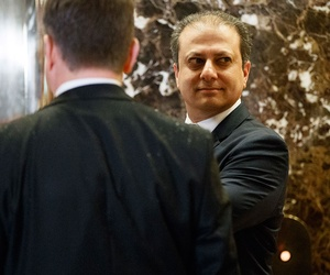 U.S. Attorney for the Southern District of New York, Preet Bharara, waits for the elevator in the lobby of Trump Tower in November.