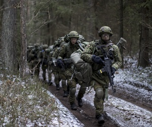 Lithuanian conscripts practice during a NATO military exercise, 'Iron Sword,' at the Rukla military base some 130 km. (80 miles) west of the capital Vilnius, Lithuania, Monday, Nov. 28, 2016.