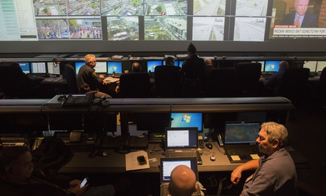.S. Customs and Border Protection Office of Information Technology field support staff maintain computer systems at the City of Houston's emergency operations center to ensure the safety and security of Super Bowl LI Feb 3, 2017.