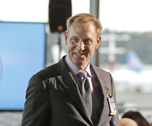 Pat Shanahan, then-senior vice president of Airplane Programs for Boeing Commercial Airplanes, greets guests at a re-opening ceremony for Boeing's newly expanded 737 delivery center in Seattle in 2015.